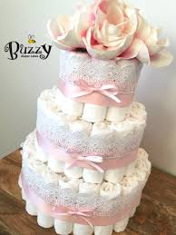 vintage chic baby pink with lace diaper cake shabby chic diaper
