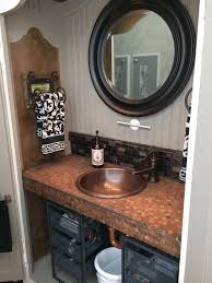 Bathroom Vanity With Copper Sink The Husband Vanity Up Cycled Armoire Turned Bathroom Vanity