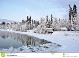 alaska house alaska house on the river in winter stock photo image 12930138