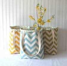 Wedding Gift Set Tote Bag Set Chevron Tote Bag Set Reversible Tote Bags