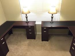 Home Office Double Desk Good Varnished Teak Wood Double Office Desk For Home Office With