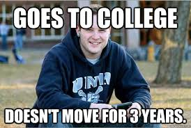 Meme College - college freshman meme guy morphs to successful college senior in