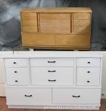 Painted Furniture Ideas Before And After Mid Century Dresser Refinished In White Painted Furniture Ideas