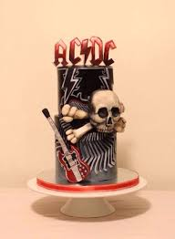 acdc themed birthday cake modeling chocolate letters skull