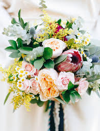 ethereal enchanted bohemian backyard wedding protea bouquet