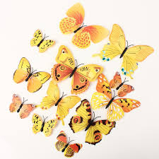 12pcs 3d yellow butterfly wall stickers art decals home wedding 12pcs 3d yellow butterfly wall stickers art decals home wedding party decoration