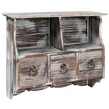 Distressed Wall Cabinet Amazon Com Country Rustic Brown Wood Wall Organizer Shelf Rack