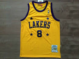 nba lakers 8 kobe bryant street basketball 4 stars mesh yellow t