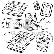 mobile communication or phone sketch gl stock images