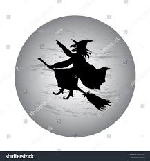 halloween background witch moon halloween witch flying on broom full stock vector 330872060
