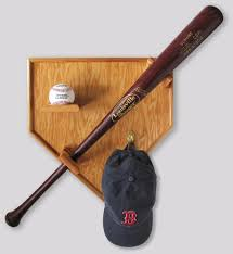 Home Plate Baseball by Sports Home Plate Wood Oak Baseball Bat Hat Cap Display Case For