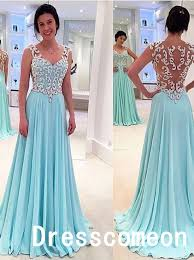 cheap gowns new design white lace sky blue prom dresses a line princess