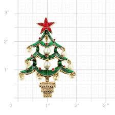 green christmas pearl tree swarovski crystal pin brooch and