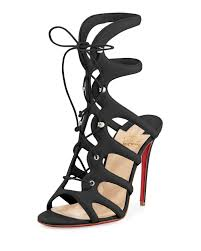 christian louboutin amazoulo lace up red sole sandal in black lyst