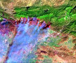 California Wildfire Satellite View by San Diego Wildfire 2003 Web Mapping Services