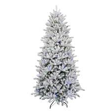 7 5 ft pre lit led flocked balsam wrgb artificial christmas tree