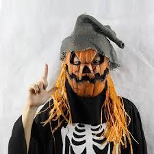 Realistic Halloween Costumes Aliexpress Com Buy Halloween Mask Pumpkin Scarecrow Creepy