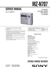 sony mz n707 service manual windows 2000 electrical engineering