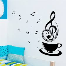 Music Note Home Decor Fashion Unique Black Music Note Coffee Cup For Kids Rooms Living