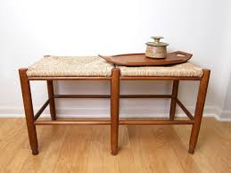 wooden ottoman bench seat vintage occasional bench rush seat bedroom bench woven seat wood