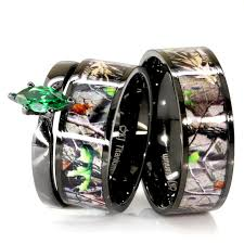 camo wedding ring sets 3 pc mens womens black camo and green emerald cubic zirconia