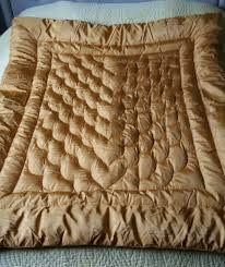 Gold Quilted Bedspread Vintage Antique English Green Satin Silk Feather Down Bed