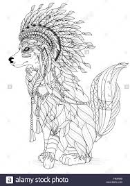 lovely indian style wolf coloring page stock vector art