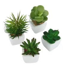 mini plants niceeshop set of 4 modern white ceramic mini potted artificial