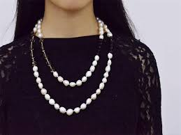long pearl beaded necklace images Rice shape real pearl crystal glass bead women long necklace jpg