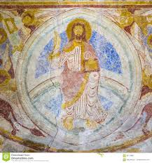 romanesque wall painting of majestas domini stock photo image royalty free stock photo