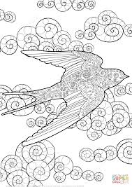 swallow sky zentangle coloring free printable