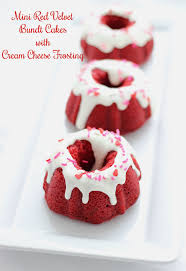 mini red velvet bundt cakes with cream cheese frosting be mine
