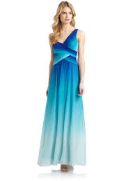 bcbgmaxazria timoa silk chiffon ombre one shoulder gown in blue lyst