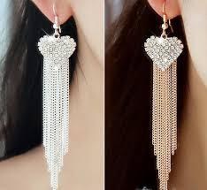 silver long drop necklace images Fashion chunky chain gold silver color long tassel earrings for jpg