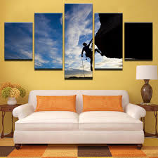 online get cheap outdoor posters aliexpress com alibaba group canvas wall art pictures frame home decor room poster 5 pieces outdoor sports rock climbing hd