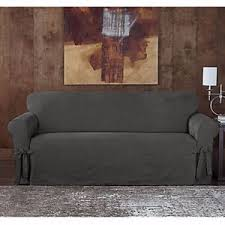 Surefit Sofa Covers by Sure Fit Designer Sueded Twill Sofa Slipcover In Grey Ebay