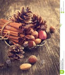 pine cone cinnamon and nuts for christmas decoration royalty free