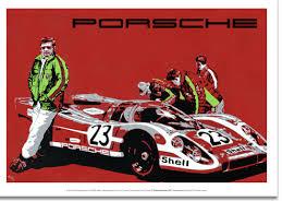 porsche racing poster le mans 24 hours 1970 winning porsche 917k art poster autographed