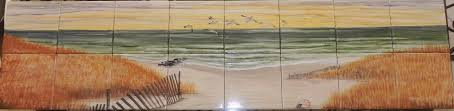 tile murals hand painted tile mural with beach sand dunes ocean for kitchen backsplash