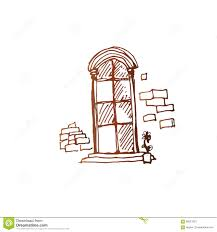 old style window simple vector sketch stock vector image 60051923