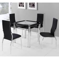 furniture rectangle soft blue small glass dining table with black
