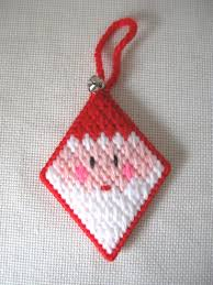 plastic canvas santa claus ornament with jingle bell needlepoint
