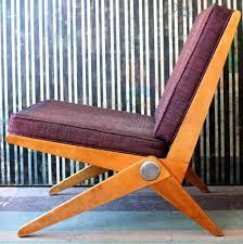 scissor chair by pierre jeanneret for knoll wood fabric webbing