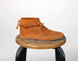 Brown Fringe Ankle Boots Moccasin Ankle Boots Etsy