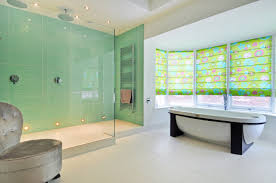 shower bathroom designs gorgeous bath design idea with bay windows and yellow curtains