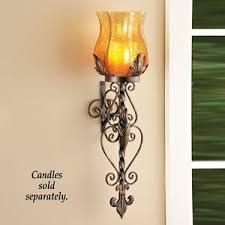 Fleur De Lis Wall Sconce Antique Brown Fleur De Lis Amber Glass Wall Sconce Tealight Votive
