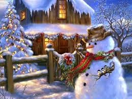 Winter Houses by Winter Xmas Snowman Creative Colors Paintings Year House Pretty