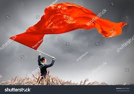Red Flags Woman Waving Red Flag Stock Photo 385577002 Shutterstock