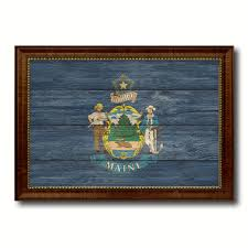 maine state flag texture canvas print with brown picture frame