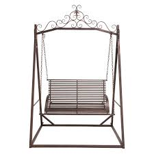 exterior wrought iron porch swing with chain using curved arm and
